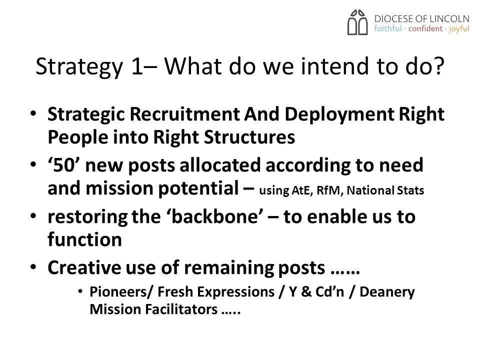 Strategy 1– What do we intend to do.