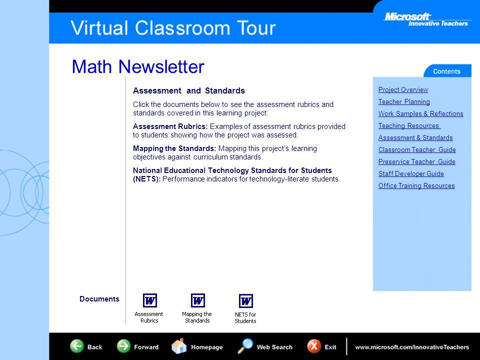math newsletter project overview teacher planning work samples