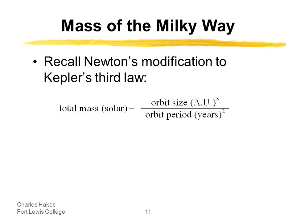 Charles Hakes Fort Lewis College11 Mass of the Milky Way Recall Newton's modification to Kepler's third law: