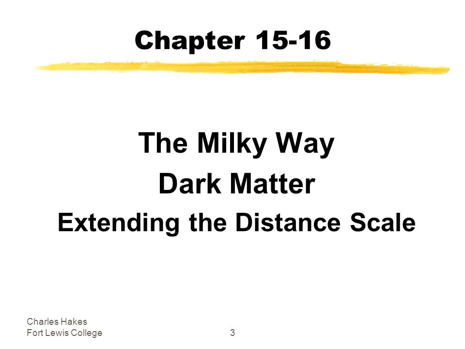 Charles Hakes Fort Lewis College3 Chapter The Milky Way Dark Matter Extending the Distance Scale