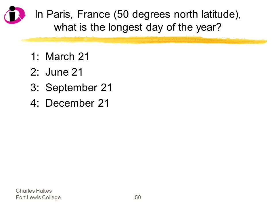 Charles Hakes Fort Lewis College50 In Paris, France (50 degrees north latitude), what is the longest day of the year.