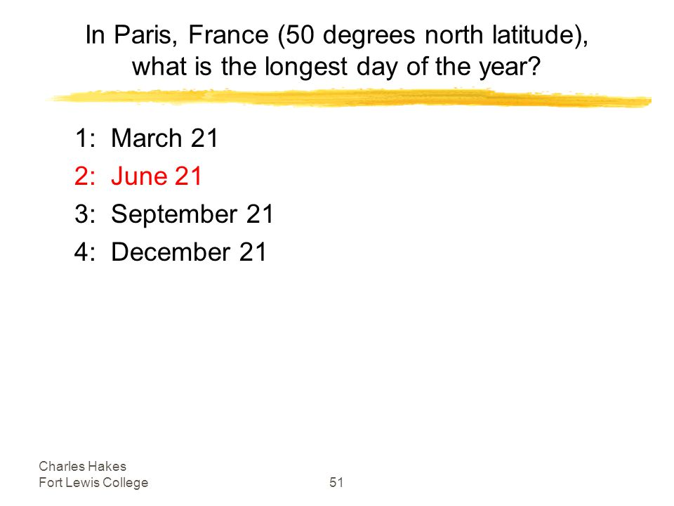 Charles Hakes Fort Lewis College51 In Paris, France (50 degrees north latitude), what is the longest day of the year.