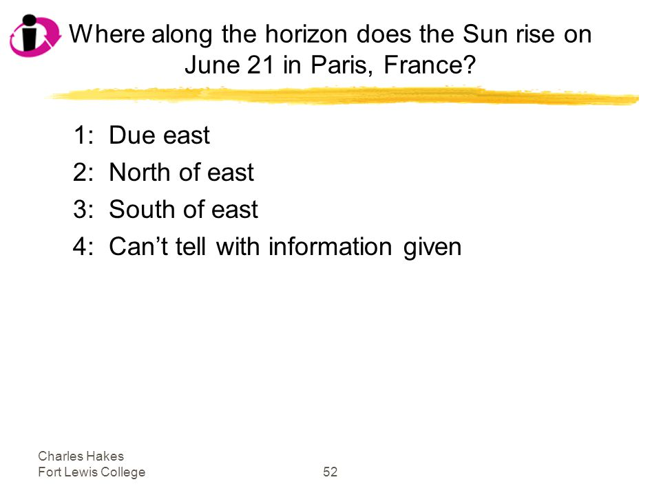 Charles Hakes Fort Lewis College52 Where along the horizon does the Sun rise on June 21 in Paris, France.