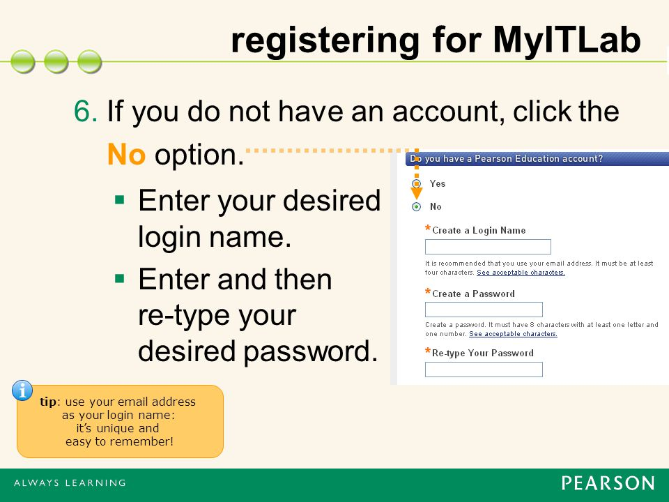 registering for MyITLab 6. If you do not have an account, click the No option.