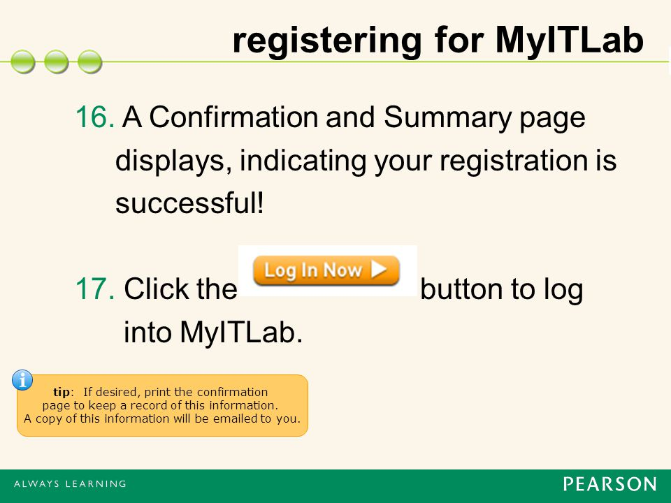 registering for MyITLab 16.