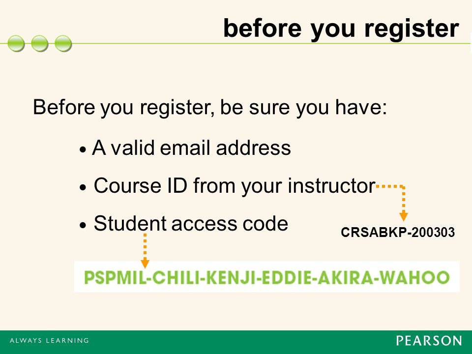 before you register Before you register, be sure you have: A valid  address Course ID from your instructor Student access code CRSABKP