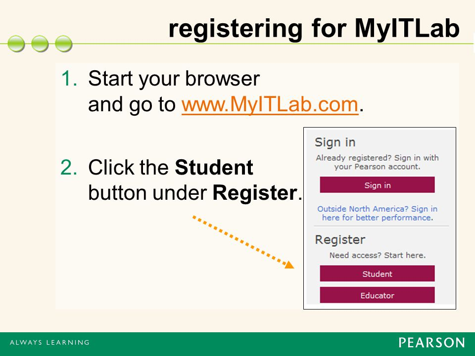registering for MyITLab 1.Start your browser and go to   2.Click the Student button under Register.