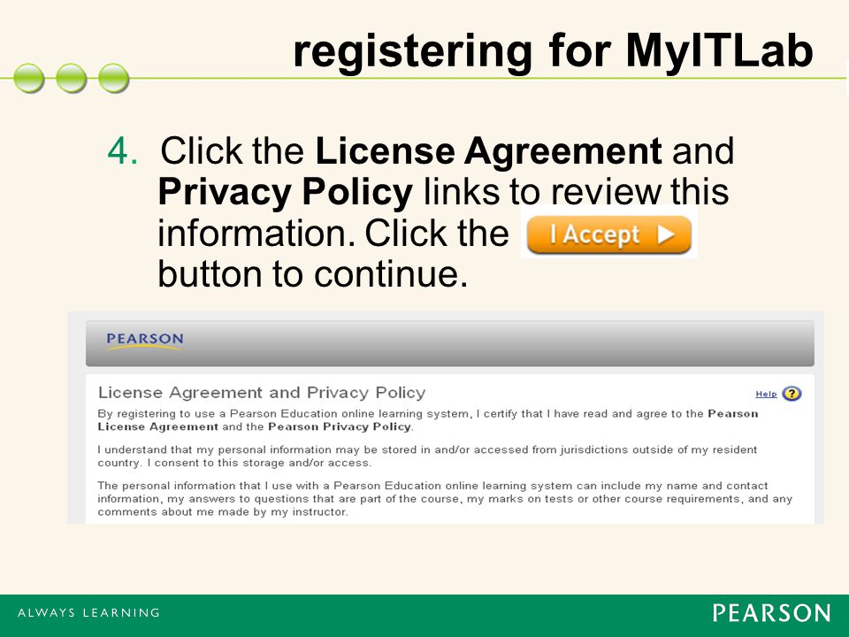 4. Click the License Agreement and Privacy Policy links to review this information.