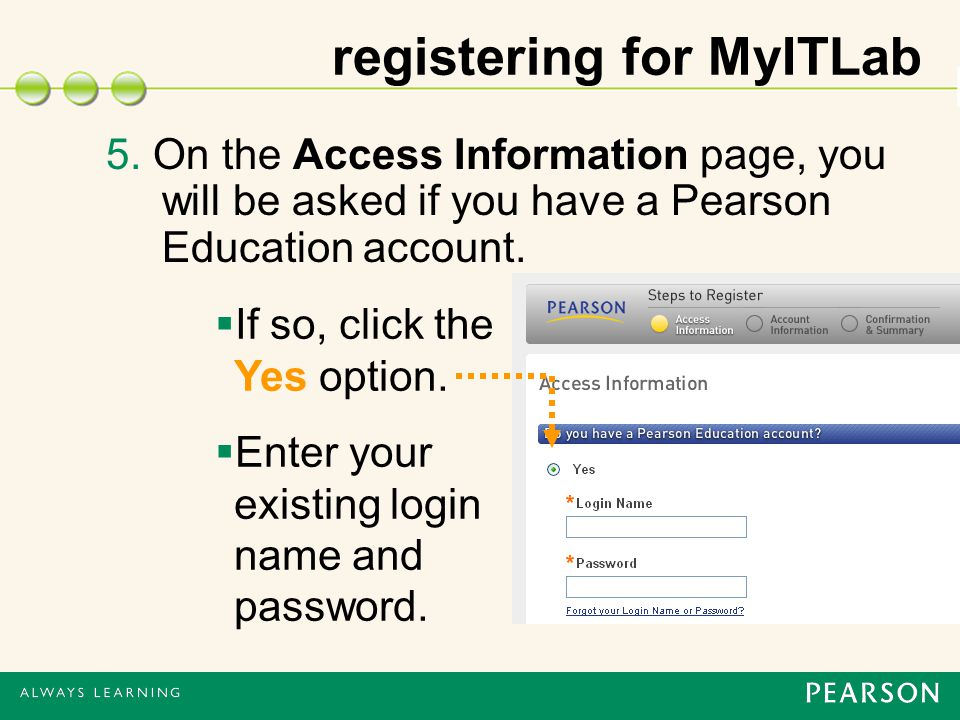 5. On the Access Information page, you will be asked if you have a Pearson Education account.