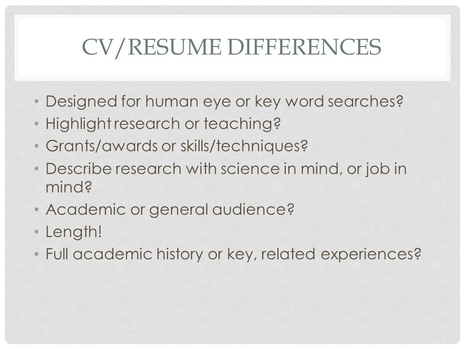 CV/RESUME DIFFERENCES Designed for human eye or key word searches.