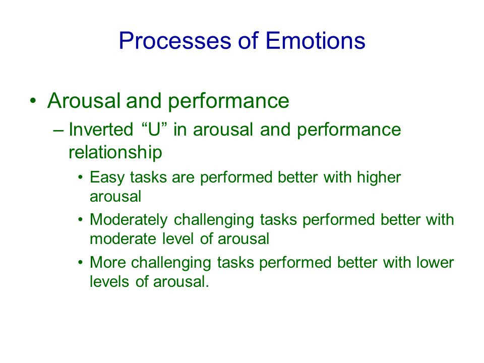 Processes of Emotions Arousal and performance –Inverted U in arousal and performance relationship Easy tasks are performed better with higher arousal Moderately challenging tasks performed better with moderate level of arousal More challenging tasks performed better with lower levels of arousal.