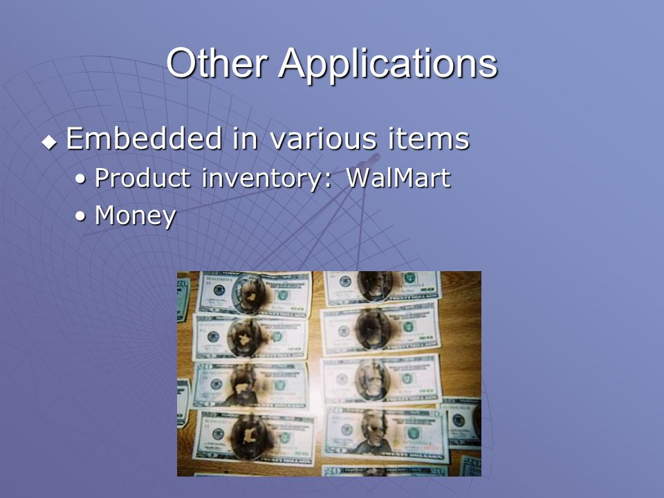 Other Applications  Embedded in various items Product inventory: WalMartProduct inventory: WalMart MoneyMoney