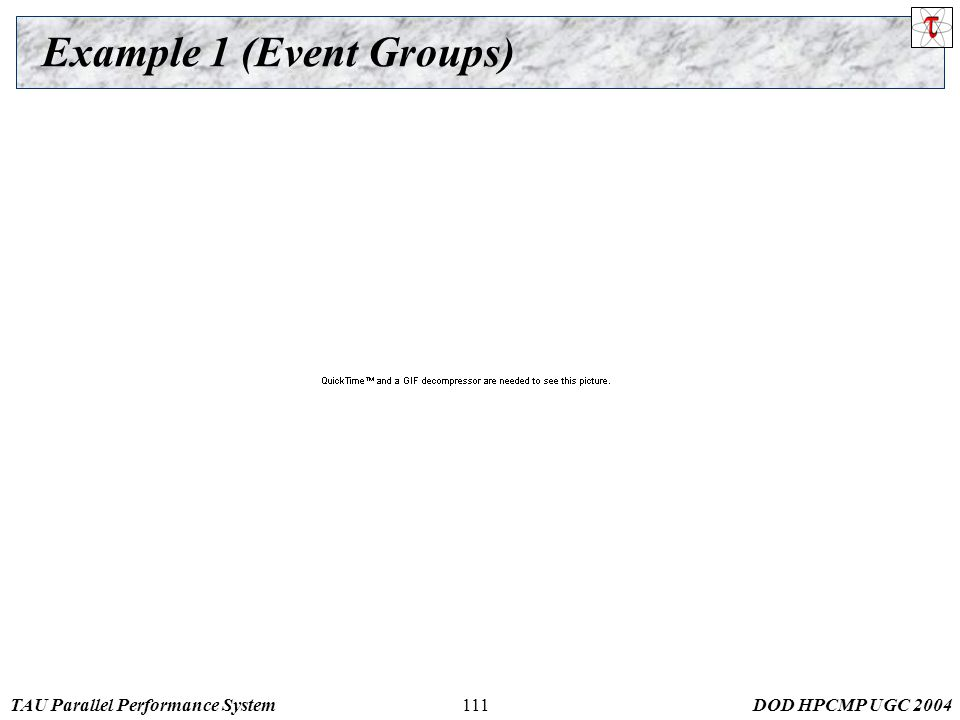 TAU Parallel Performance SystemDOD HPCMP UGC 2004111 Example 1 (Event Groups)