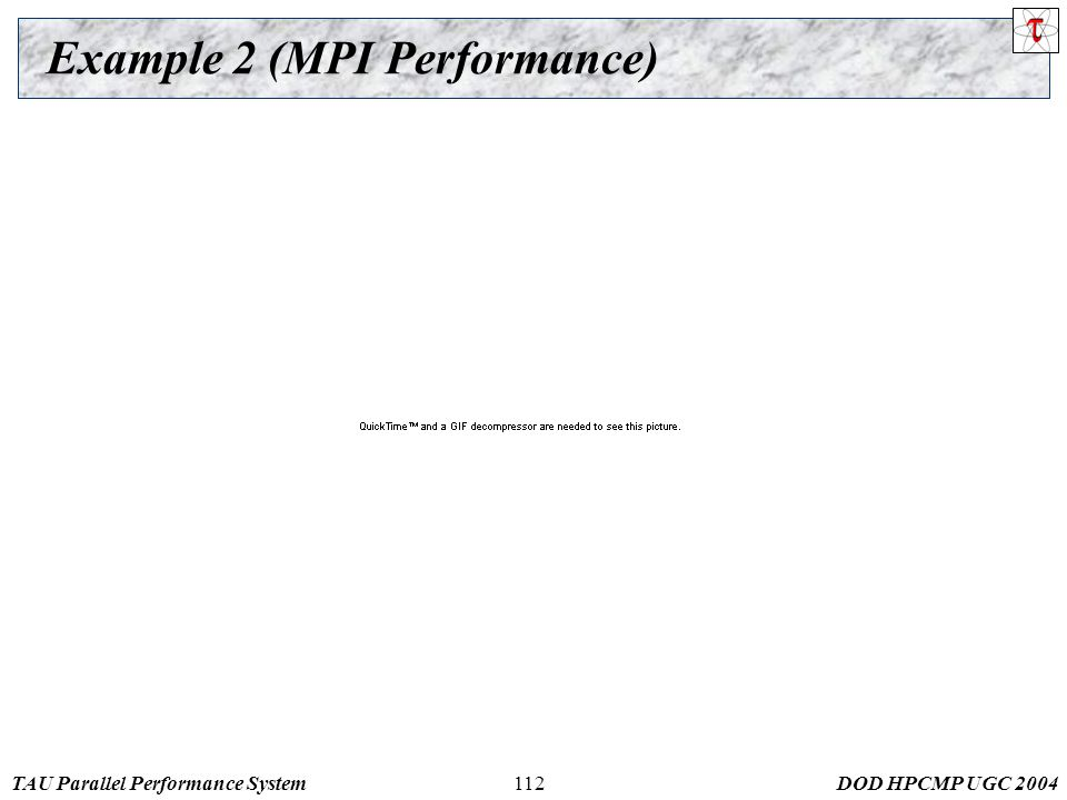 TAU Parallel Performance SystemDOD HPCMP UGC 2004112 Example 2 (MPI Performance)