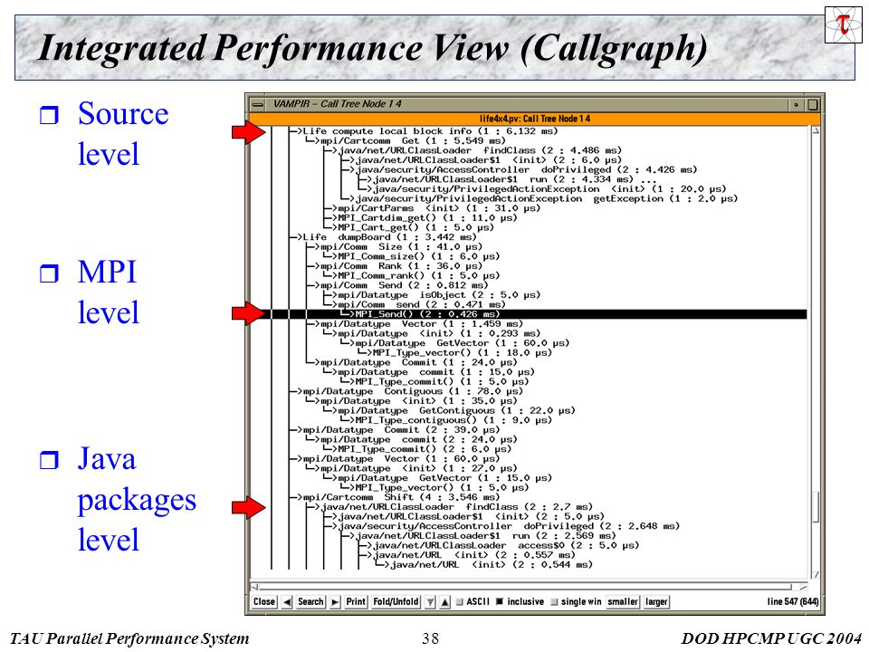 TAU Parallel Performance SystemDOD HPCMP UGC 200438 Integrated Performance View (Callgraph)  Source level  MPI level  Java packages level