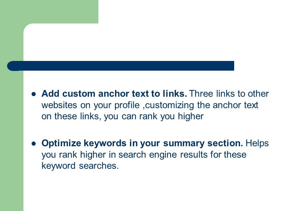 Add custom anchor text to links.