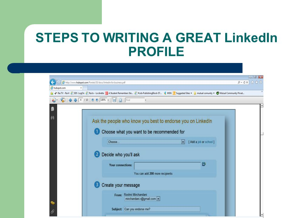 STEPS TO WRITING A GREAT LinkedIn PROFILE