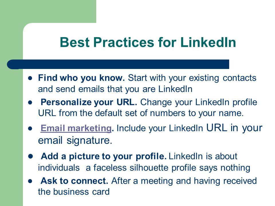Best Practices for LinkedIn Find who you know.