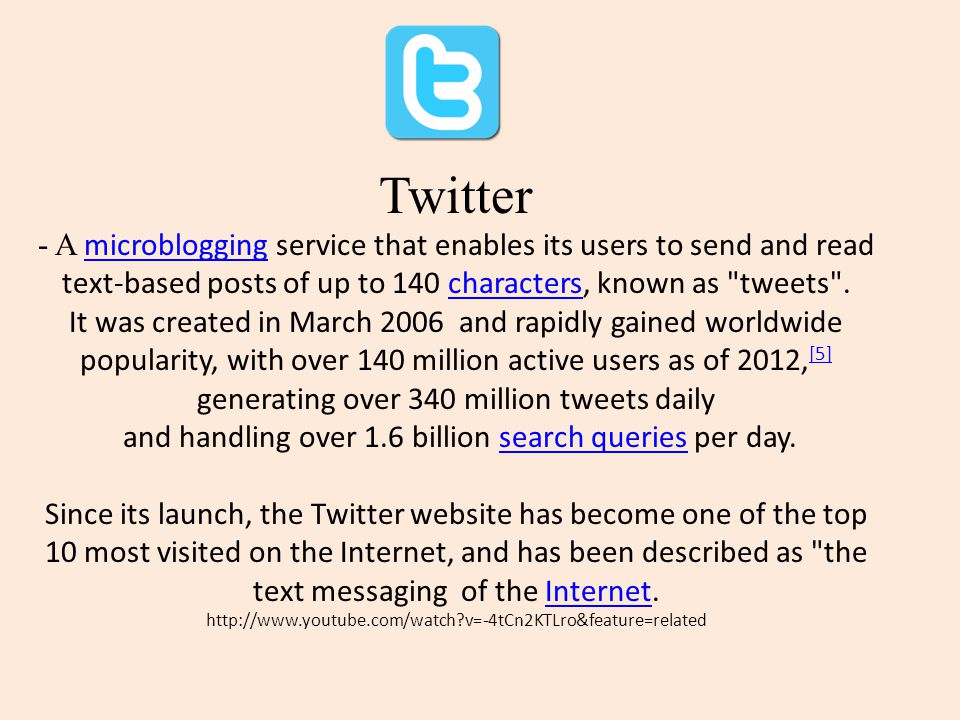 Twitter - A microblogging service that enables its users to send and read text-based posts of up to 140 characters, known as tweets .
