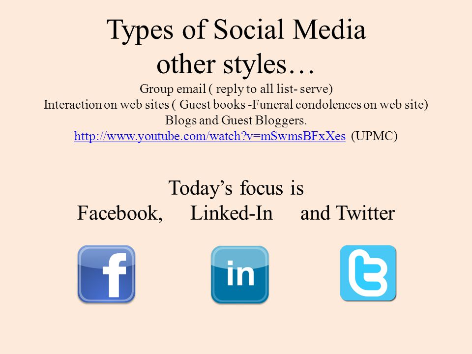 Types of Social Media other styles… Group  ( reply to all list- serve) Interaction on web sites ( Guest books -Funeral condolences on web site) Blogs and Guest Bloggers.