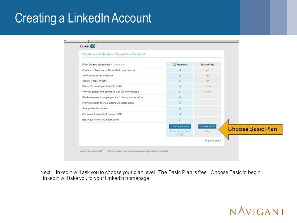 Creating a LinkedIn Account Next, LinkedIn will ask you to choose your plan level.