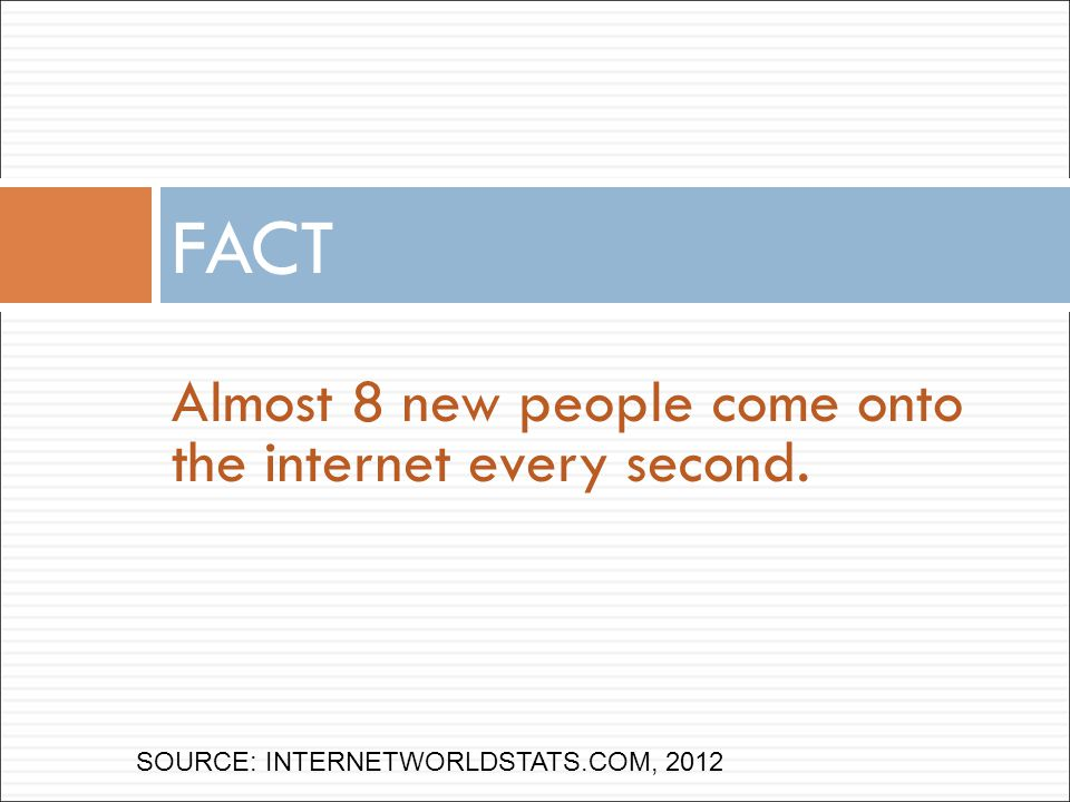 Almost 8 new people come onto the internet every second. FACT SOURCE: INTERNETWORLDSTATS.COM, 2012