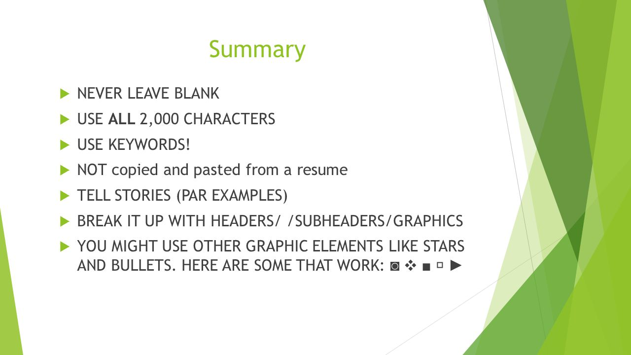 Summary  NEVER LEAVE BLANK  USE ALL 2,000 CHARACTERS  USE KEYWORDS.