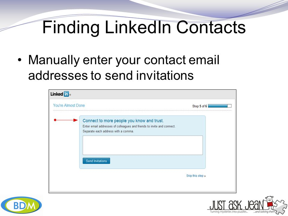 Manually enter your contact  addresses to send invitations