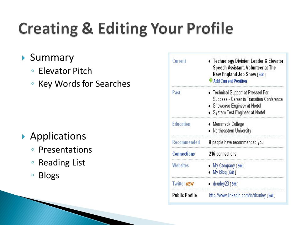  Summary ◦ Elevator Pitch ◦ Key Words for Searches  Applications ◦ Presentations ◦ Reading List ◦ Blogs