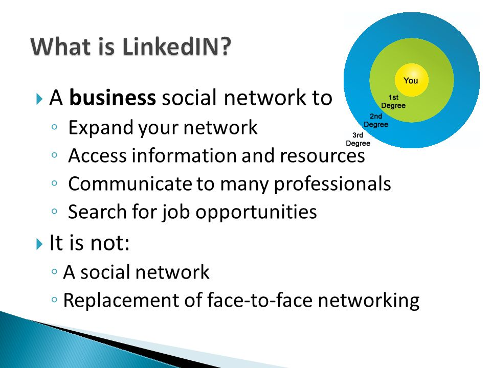  A business social network to ◦ Expand your network ◦ Access information and resources ◦ Communicate to many professionals ◦ Search for job opportunities  It is not: ◦ A social network ◦ Replacement of face-to-face networking