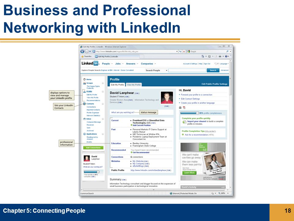 Business and Professional Networking with LinkedIn Chapter 5: Connecting People18