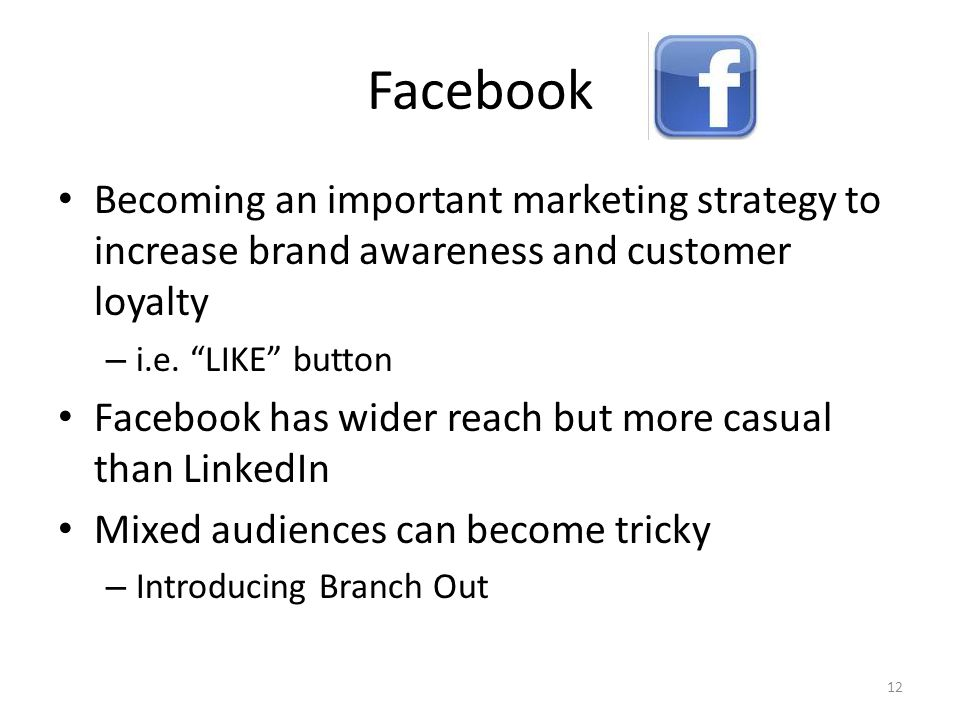 Facebook Becoming an important marketing strategy to increase brand awareness and customer loyalty – i.e.