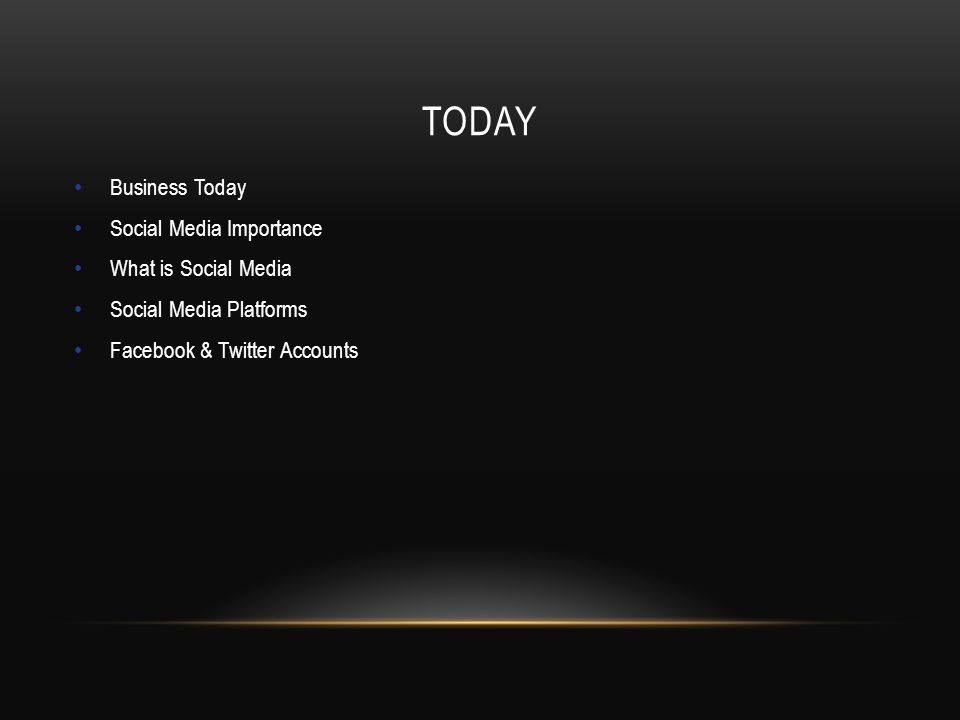 TODAY Business Today Social Media Importance What is Social Media Social Media Platforms Facebook & Twitter Accounts