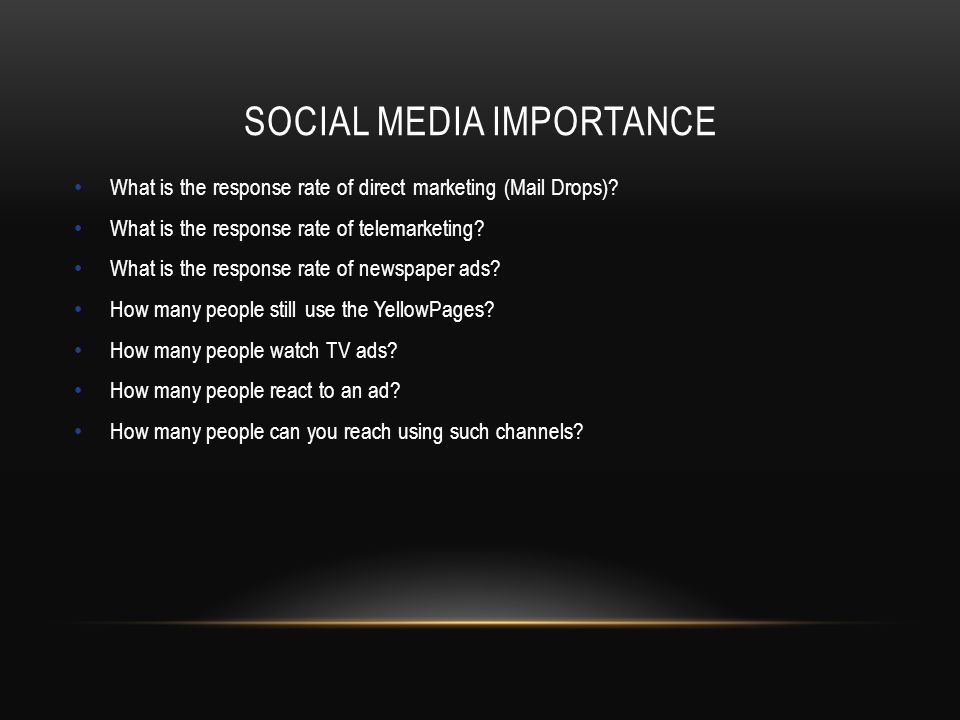 SOCIAL MEDIA IMPORTANCE What is the response rate of direct marketing (Mail Drops).