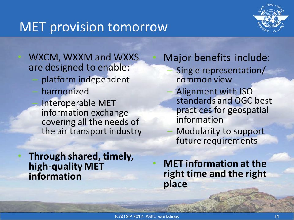 MET provision tomorrow WXCM, WXXM and WXXS are designed to enable: – platform independent – harmonized – Interoperable MET information exchange covering all the needs of the air transport industry Through shared, timely, high-quality MET information Major benefits include: – Single representation/ common view – Alignment with ISO standards and OGC best practices for geospatial information – Modularity to support future requirements MET information at the right time and the right place ICAO SIP ASBU workshops11
