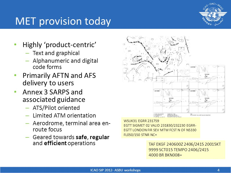 MET provision today Highly 'product-centric' – Text and graphical – Alphanumeric and digital code forms Primarily AFTN and AFS delivery to users Annex 3 SARPS and associated guidance – ATS/Pilot oriented – Limited ATM orientation – Aerodrome, terminal area en- route focus – Geared towards safe, regular and efficient operations ICAO SIP ASBU workshops4 WSUK31 EGRR EGTT SIGMET 02 VALID / EGRR- EGTT LONDON FIR SEV MTW FCST N OF N5330 FL050/150 STNR NC= TAF EKGF Z 2406/ KT 9999 SCT015 TEMPO 2406/ BR BKN008=
