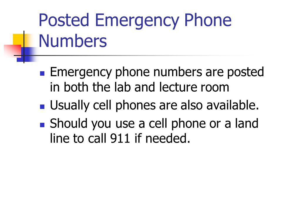 Posted Emergency Phone Numbers Emergency phone numbers are posted in both the lab and lecture room Usually cell phones are also available.