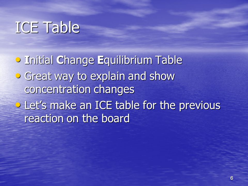 6 ICE Table Initial Change Equilibrium Table Initial Change Equilibrium Table Great way to explain and show concentration changes Great way to explain and show concentration changes Let's make an ICE table for the previous reaction on the board Let's make an ICE table for the previous reaction on the board