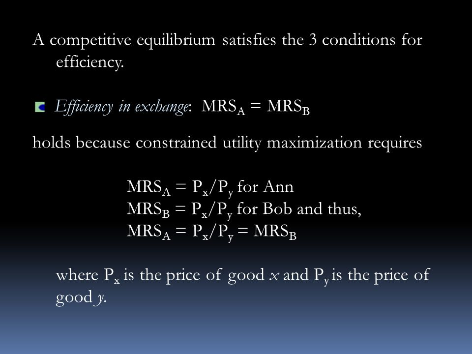 A competitive equilibrium satisfies the 3 conditions for efficiency.