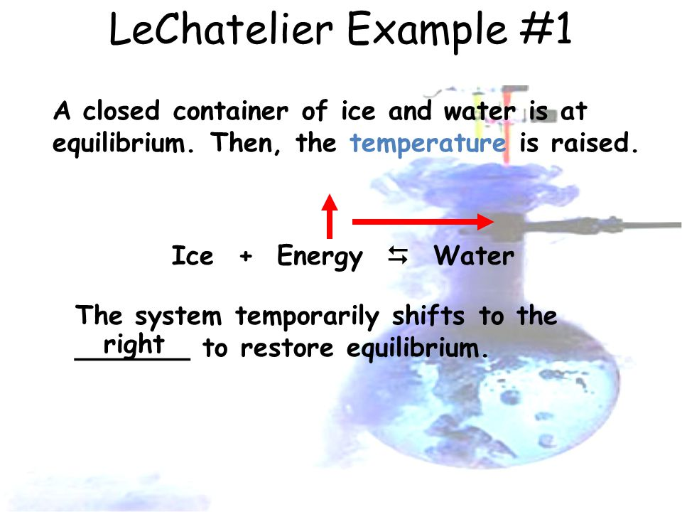 LeChatelier Example #1 A closed container of ice and water is at equilibrium.