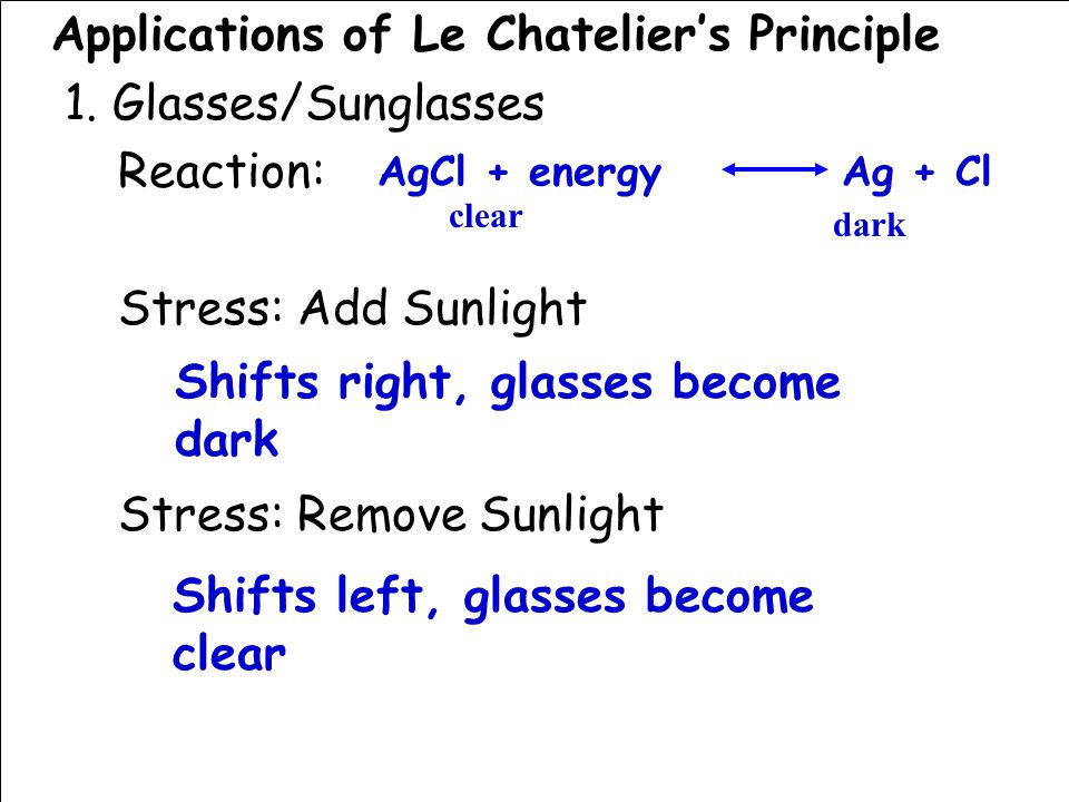 Applications of Le Chatelier's Principle 1.