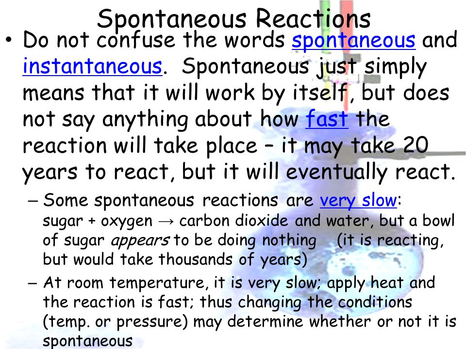 Spontaneous Reactions Do not confuse the words spontaneous and instantaneous.