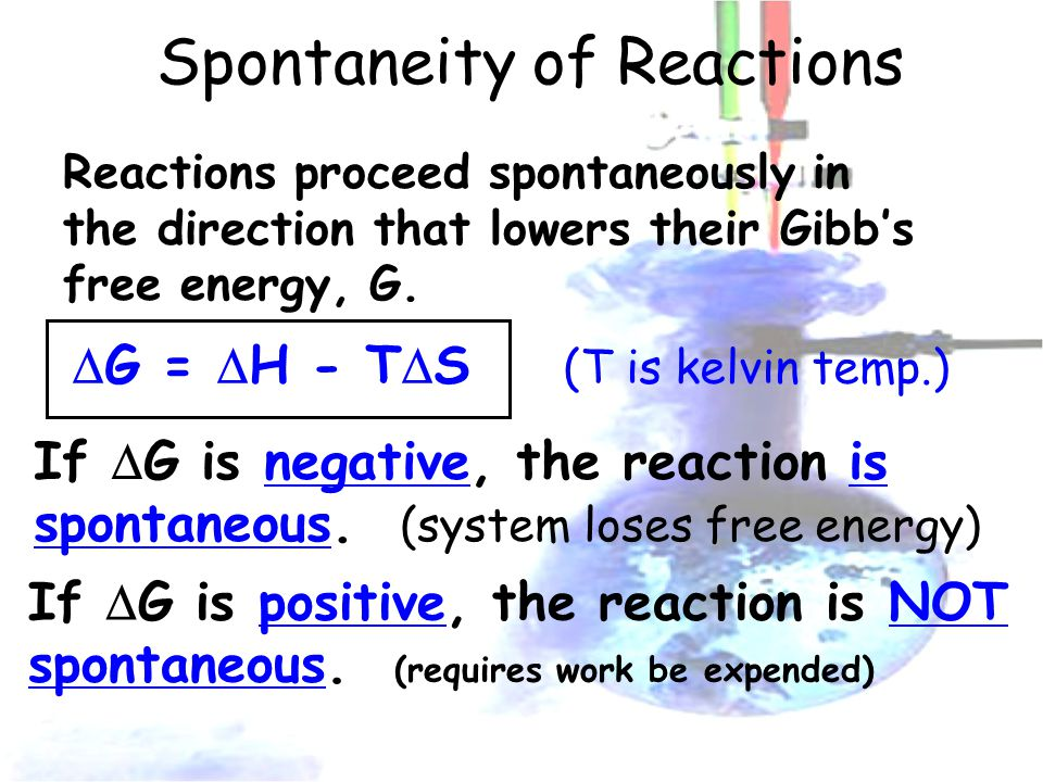 Spontaneity of Reactions Reactions proceed spontaneously in the direction that lowers their Gibb's free energy, G.