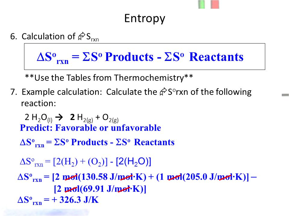 Entropy 6. Calculation of  S rxn **Use the Tables from Thermochemistry** 7.