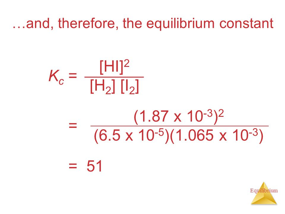 Equilibrium …and, therefore, the equilibrium constant Kc =Kc = [HI] 2 [H 2 ] [I 2 ] = 51 = (1.87 x ) 2 (6.5 x )(1.065 x )