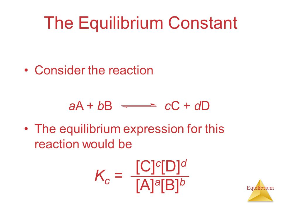 Equilibrium The Equilibrium Constant Consider the reaction The equilibrium expression for this reaction would be K c = [C] c [D] d [A] a [B] b aA + bBcC + dD