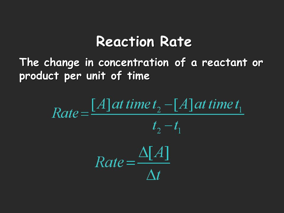Reaction Rate The change in concentration of a reactant or product per unit of time