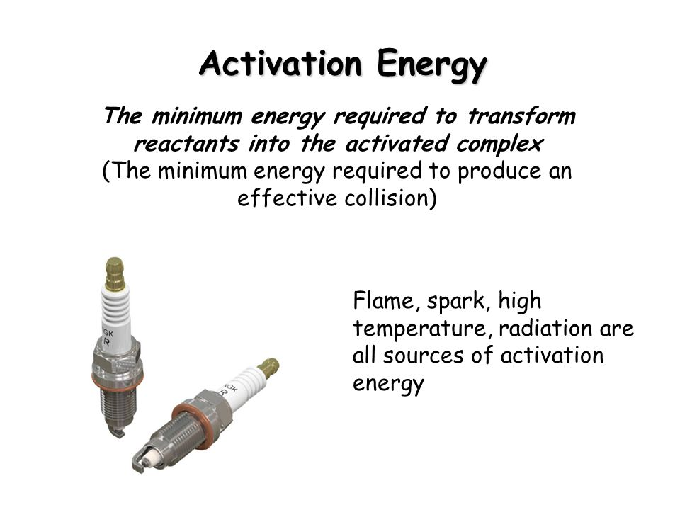 Activation Energy The minimum energy required to transform reactants into the activated complex (The minimum energy required to produce an effective collision) Flame, spark, high temperature, radiation are all sources of activation energy