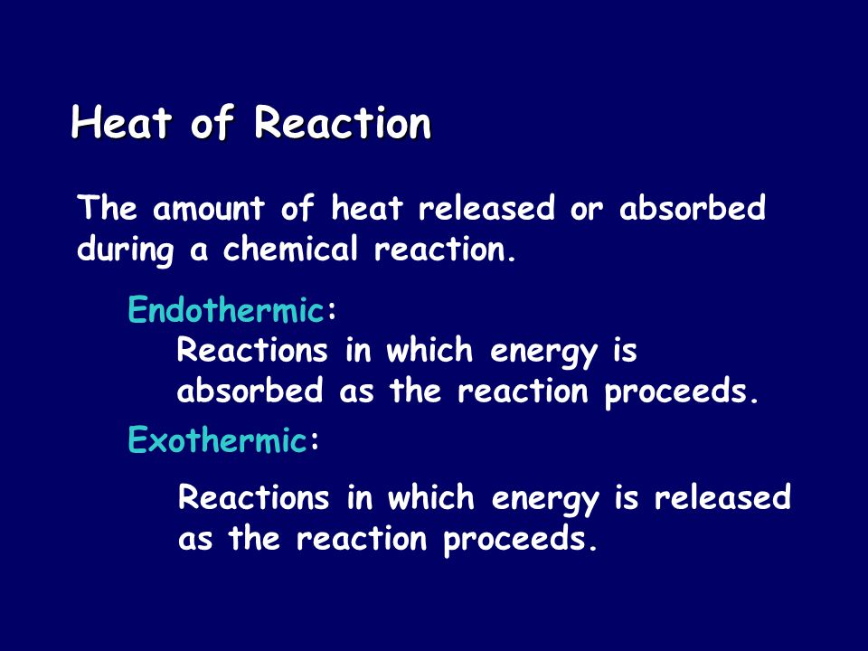 Heat of Reaction The amount of heat released or absorbed during a chemical reaction.