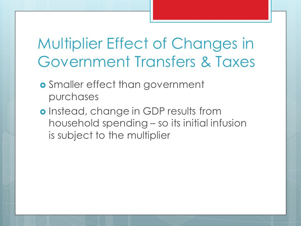 Multiplier Effect of Changes in Government Transfers & Taxes  Smaller effect than government purchases  Instead, change in GDP results from household spending – so its initial infusion is subject to the multiplier